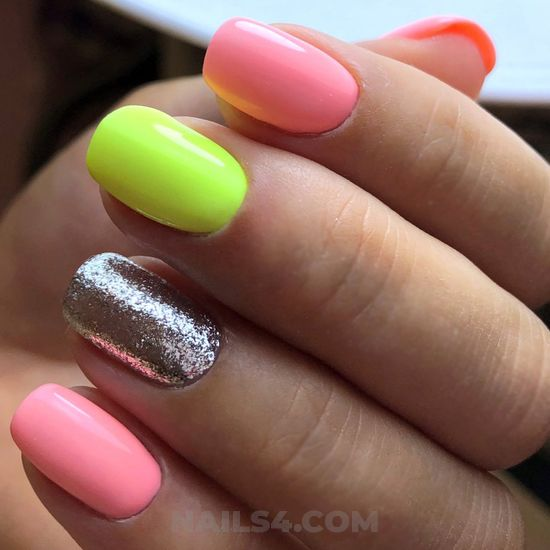 Colorful unique acrylic nail ideas - glamour, nail, ideas, simple, cutie