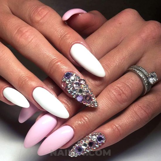 Cool orderly american manicure design - elegant, nails, naildesigns, acrylic