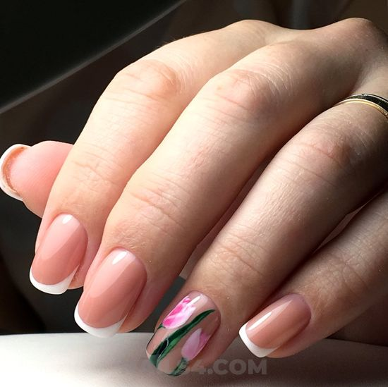 Pretty and attractive parisian gel manicure style - graceful, gel, nails, charming, sweet