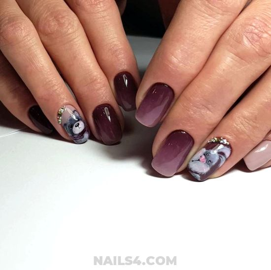 Charming Glamour Gel Manicure Design Ideas - nailartideas, nail, royal, simple