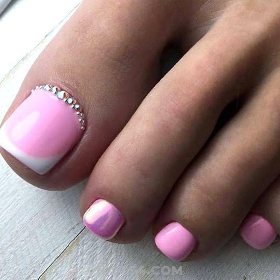 Beautiful And Perfect Acrylic Manicure Art Ideas - pink, toenail, french, rhinestone