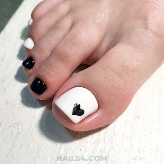 Best And Unique Gel Nail - black, white, toenail, heart