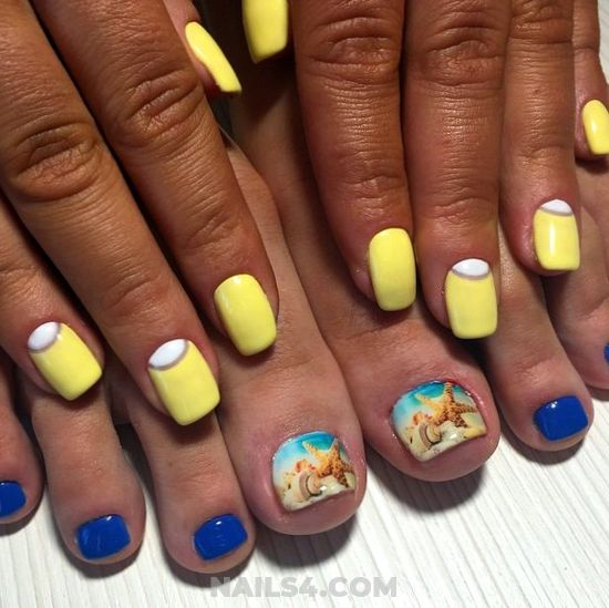 Dream & Loveable Nail Art Ideas - yellow, toenail, cute