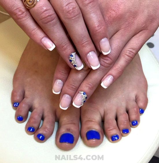 Hot Cute Nail Design Ideas - toes, french, rhinestone