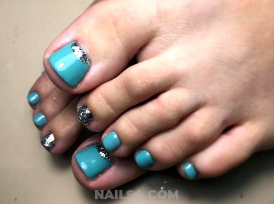 Loveable & Fresh American Gel Nails Idea - toes, rhinestone, cute