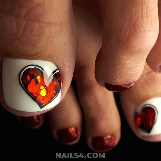 My Charming Orderly Manicure Trend - white, toes, heart