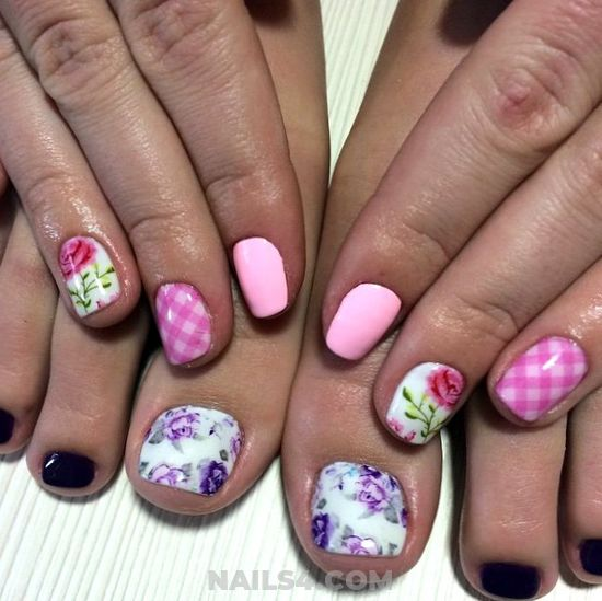 My Orderly Dainty Manicure Design - floral, pink, toe, peach