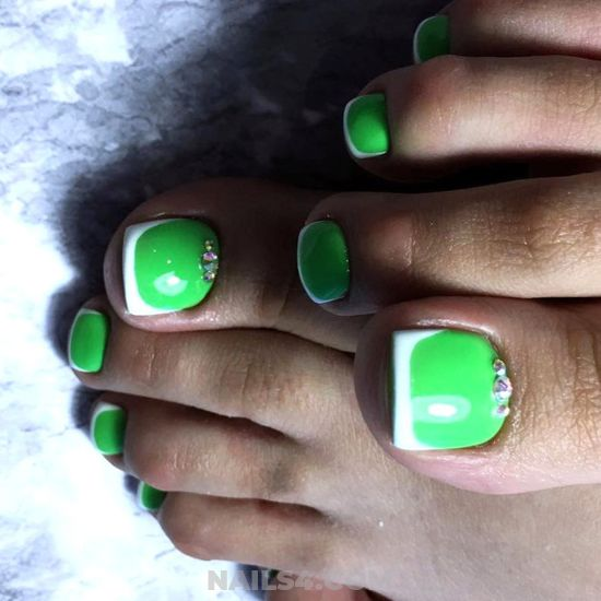 My Unique And Beautiful Acrylic Nail Art Ideas - green, toe, french, rhinestone