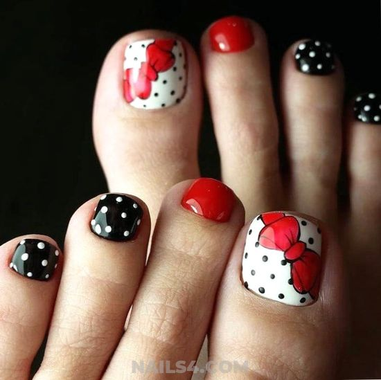 Perfect & Classy Manicure Art Ideas - dot, red, toe, nailideas