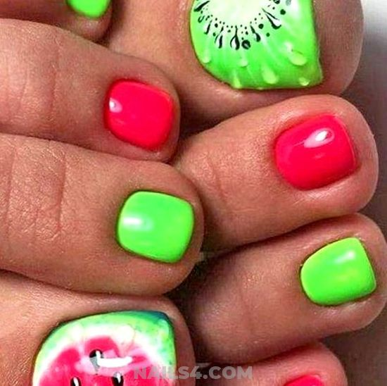 Super And Casual Nails Style - red, green, toe, fruit