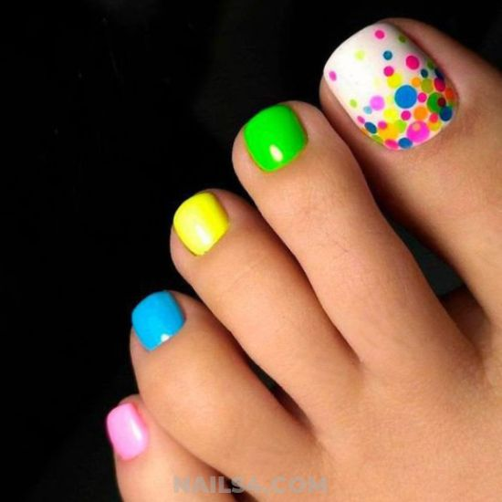 cute and colorful toenail art - style, toe, toenail, nailswag